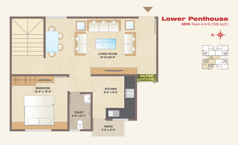 3bhk floor plan in 1500 sq ft 1500 sq ft house plan indian design